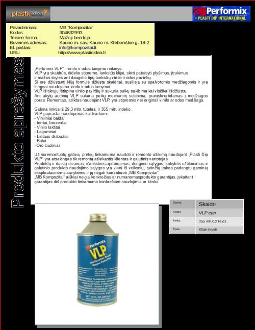 Prekes info PLASTIDIP VLP can 355 ml